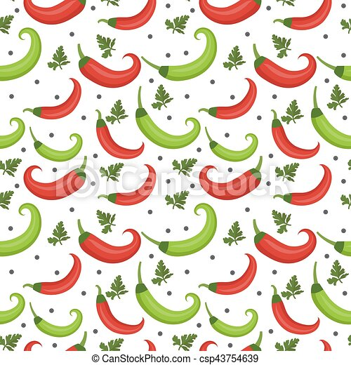 Chili peppers seamless pattern. Pepper red and green endless background, texture. Vegetable . Vector illustration - csp43754639