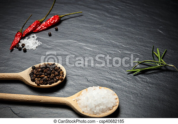 Chili With Black Pepper And Salt On Rustic Stone Background Overhead View Food Photography