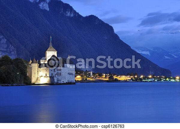 Chillion castle at night, Geneva lake, Switzerland - csp6126763