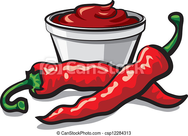 chilly peppers and ketchup - csp12284313