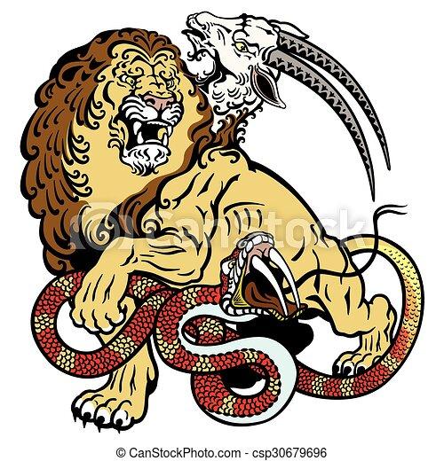 Chimere Tatouage Monstre Mythologique Isole Illustration Blanc Chimera Canstock