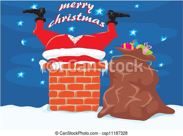 Dibujos Chimeneas De Navidad.Chimenea Navidad Santa