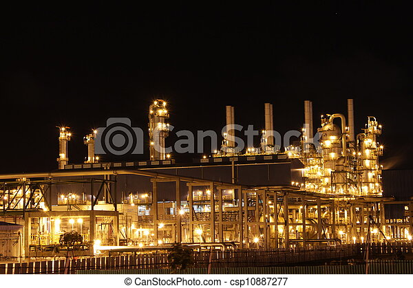 chimique, industriel, scène, nuit - csp10887277