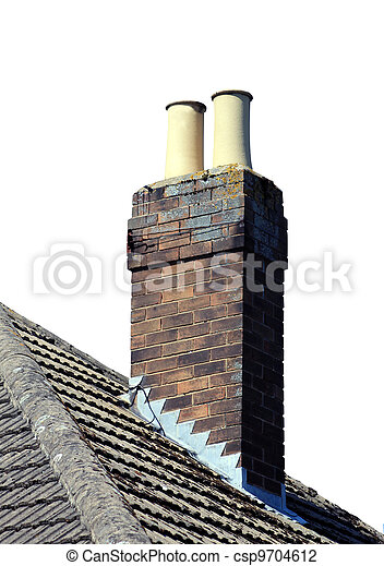 Chimney on roof isolated - csp9704612