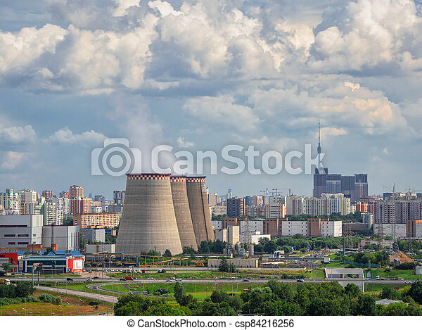 Chimneys of a power plant, an industrial district in the North of Moscow. Aerial view - csp84216256