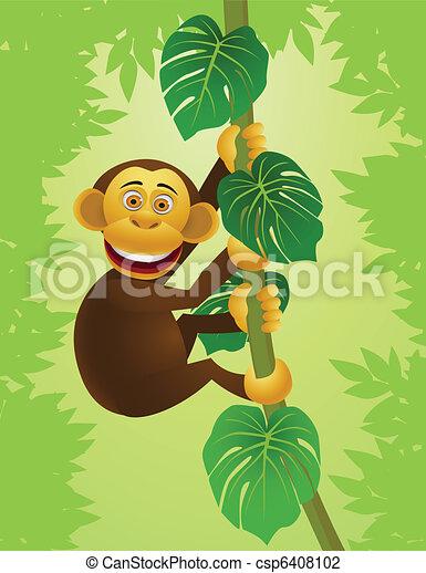 Chimpanzee cartoon in the jungle - csp6408102