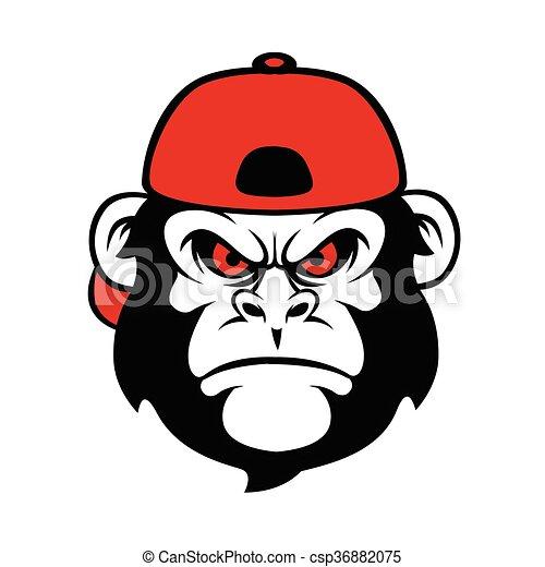 chimpanzee in a cap cartoon monkey funny monkey vectors rh canstockphoto com chimpanzee face clipart