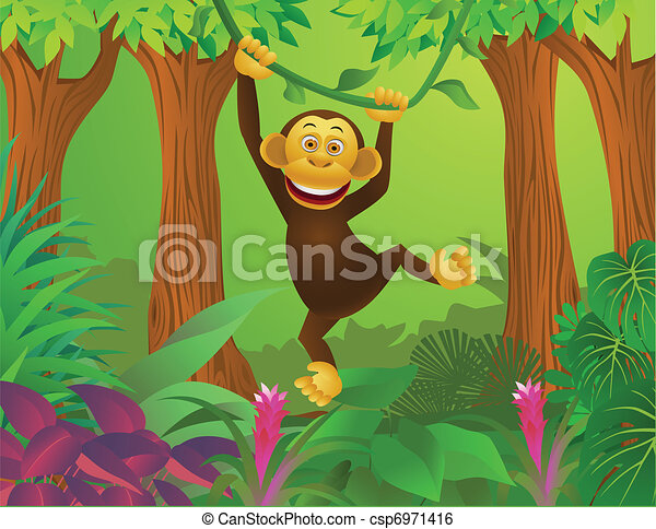 Chimpanzee in the jungle - csp6971416
