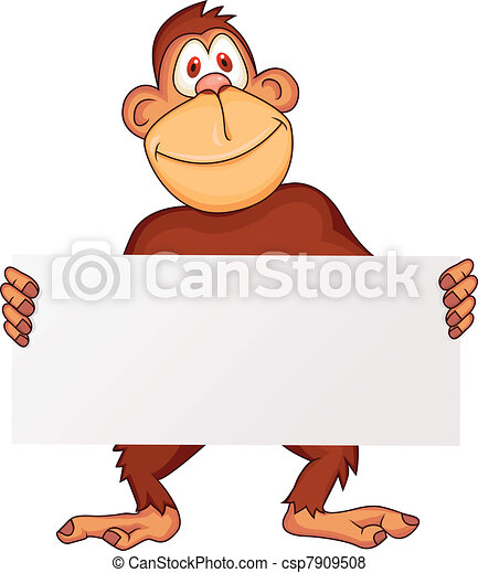 Chimpanzee with blank sign - csp7909508