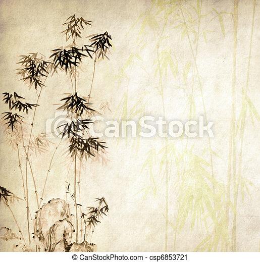 chinês, feito à mão, árvores, papel, desenho, textura, bambu - csp6853721
