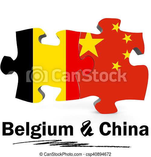 China and Belgium flags in puzzle - csp40894672