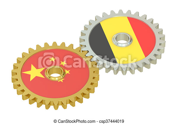 China and Belgium flags on a gears, 3D rendering - csp37444019