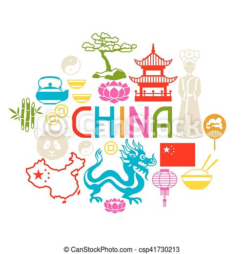 China Background Design Chinese Symbols And Objects Vector Clip