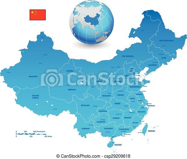 China Blue Vector Map Set