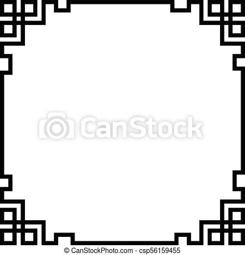 China border frame, black vector.