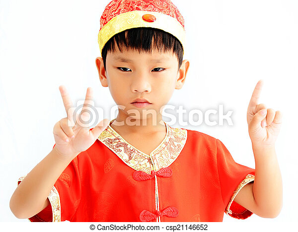 China boy in traditional chinese red tang suit greeting china boy in traditional chinese red tang suit greeting csp21146652 m4hsunfo