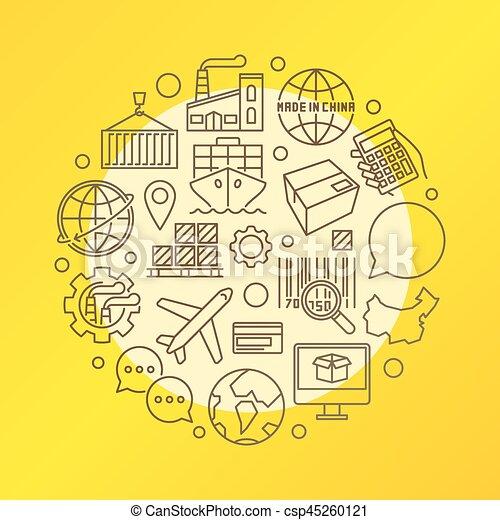 China business colorful illustration