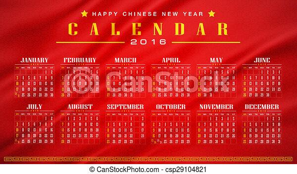 china calendar 2016 stock illustration - Chinese New Year 2016 Calendar