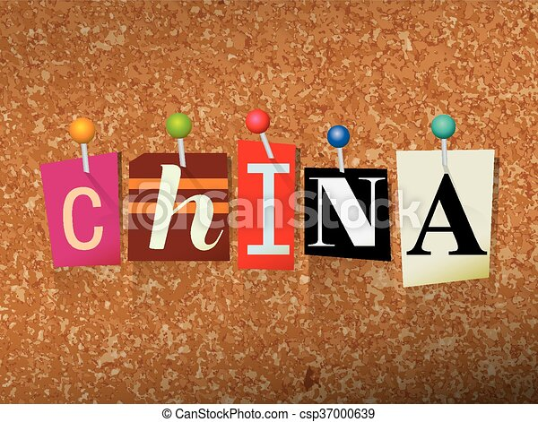 China Concept Pinned Letters Illustration - csp37000639