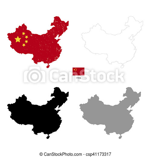 China country black silhouette and with flag on background ...