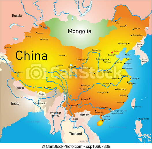 Vector map of china country.