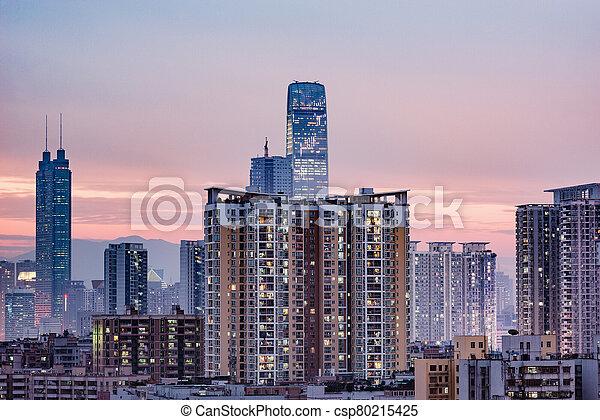 china., district, vue, shenzhen., ville, soir, time. - csp80215425