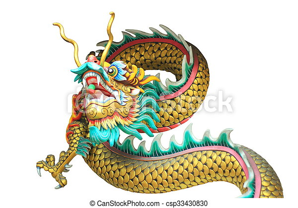 china dragon head and body statue isolated on white background - csp33430830