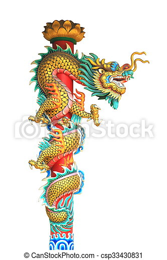china dragon statue around the pole isolated on white background - csp33430831