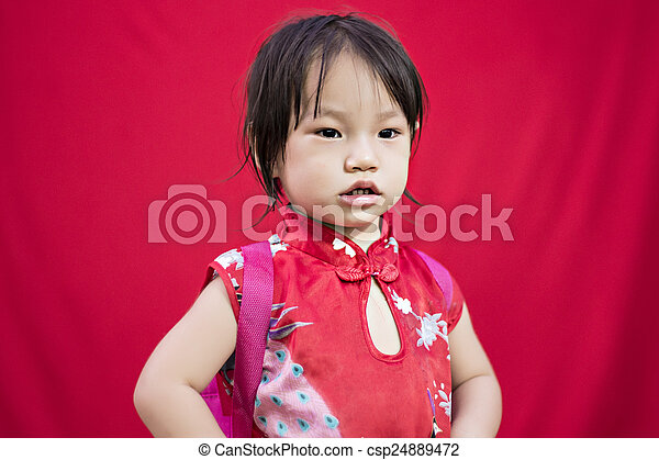 China girl in traditional chinese red tang suit greeting china girl in traditional chinese red tang suit greeting csp24889472 m4hsunfo