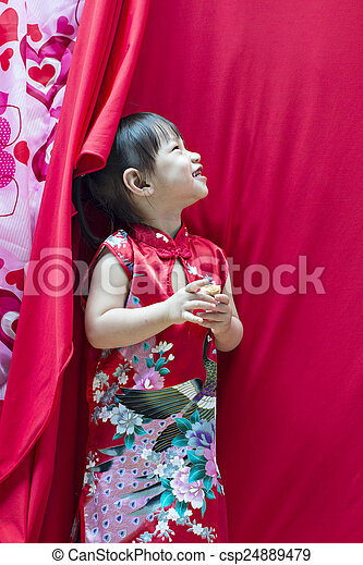 China girl in traditional chinese red tang suit greeting china girl in traditional chinese red tang suit greeting csp24889479 m4hsunfo