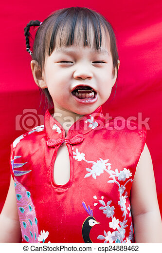 China girl in traditional chinese red tang suit greeting china girl in traditional chinese red tang suit greeting csp24889462 m4hsunfo