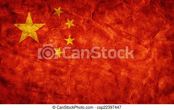 China grunge flag. Item from my vintage, retro flags collection - csp22397447