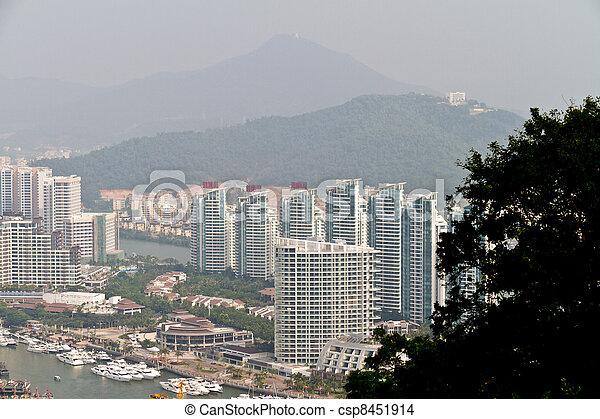 China Hainan island, city of Sanya aerial view - csp8451914