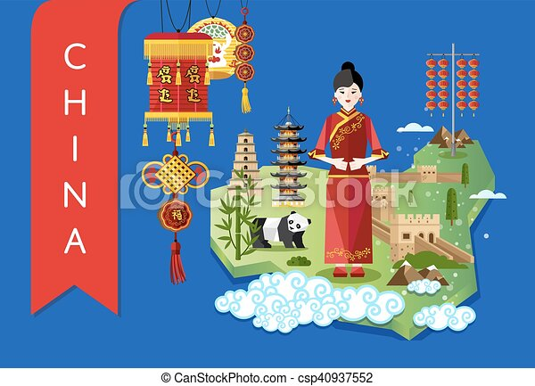 china landmarks and travel map on blue background csp40937552