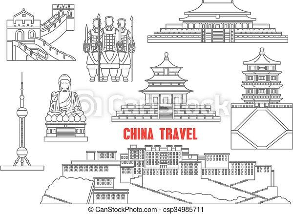 China landmarks thin line icons - csp34985711