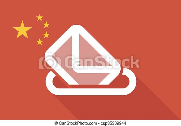 China long shadow flag with a ballot box - csp35309944