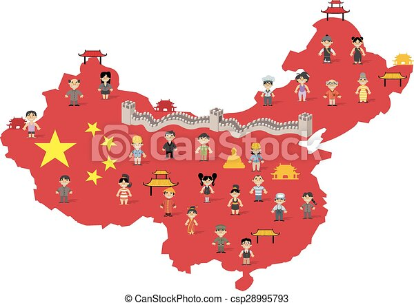 China Map Pictures.China Map With Chinese People China Map With Chinese Happy Cartoon