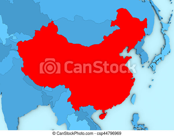 China on 3d map country of china highlighted in red on blue map 3d china on 3d map csp44796969 gumiabroncs Choice Image