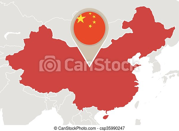 China on world map map with highlighted china map and flag china on world map csp35990247 gumiabroncs Choice Image