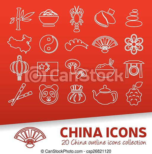 china outline icons - csp26821120