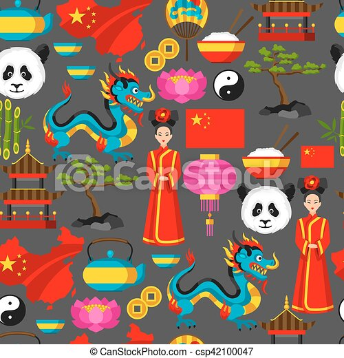 China Seamless Pattern Chinese Symbols And Objects Eps Vector