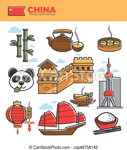 China Tourism Travel Landmarks And Chinese Culture Famous Symbols