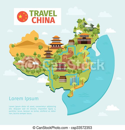 China travel vector map with traditional chinese landmarks ...