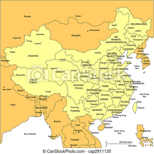 China with Administrative Districts and Surrounding Countries - csp2911130