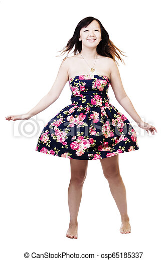 Chinese American Woman In Floral Dress On White Background - csp65185337