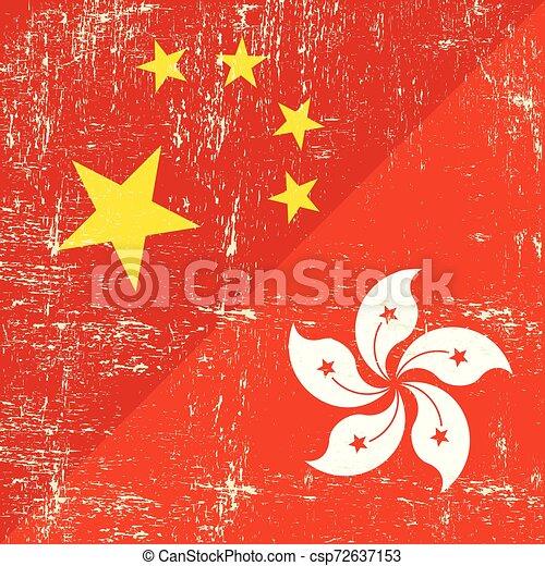 Chinese and hongkong grunge flag - csp72637153