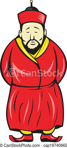 chinese asian man wearing robe cartoon illustration of a chinese rh canstockphoto com chinese cartoon to learn mandarin cartoon chinese man with glasses