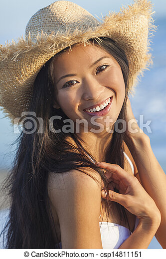 eb9e3eca0f6cc Chinese asian woman girl bikini cowboy hat beach. Outdoor portrait ...