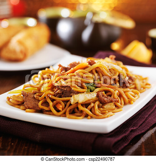 chinese beef lo mein on plate - csp22490787
