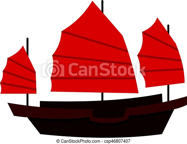 chinese boat with red sails icon isolated chinese boat with rh canstockphoto com